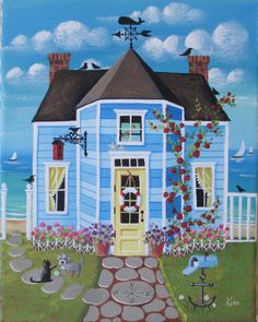 Crow's Nest Cottage ORIGINAL Folk Art Painting by KimsCottageArt