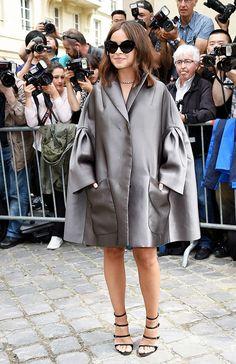 Miroslava Duma wearing an oversized metallic trench coat to Dior's fashion show. // #Fashion