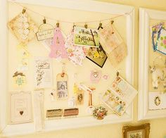 vintage bulletin boards: keep colors of board neutral for a vintage look that will match any room. wrap corkboard in off white fabric, place it in a white frame, hang string across top with pins for easy way to display mementos Creative Bulletin Boards, Cork Bulletin Boards, Cork Boards, Cork Crafts, Diy Crafts, Corkboard Crafts, Cork Board Ideas For Bedroom, Inspiration Boards, Kitchen Inspiration