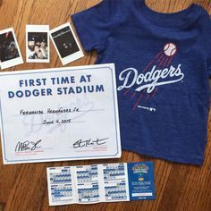THINK BLUE: It's time for Dodger Baseball!! Did you know that most stadiums offer a certificate for first time fans?!?! This is little Fernie's souvenir from his very first dodger game we're looking forward to hitting the park this season!!. Tag a friend with a first time fan!  #baseball #mlb #majorleague #firstgame #tiniestfan #dodgerfan #losangeles #losangelesdodger #dodgertee #dodgerschedule #coolpix #oldnavy by bornfreeboutique