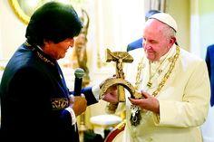imagem dos presentes do papa dado por evo morales - Pesquisa Google
