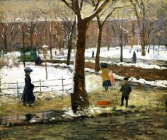 William J. Glackens (American; Ashcan School co-founder, The Eight, 1870-1938): Washington Square in Winter, c. 1910. - Google Search