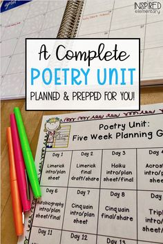 Poetry Month - See how I teach poetry in the classroom. My Poetry Unit includes 14 different styles of poetry and students create their own Poetry Portfolios. Everything you need from poem examples, to student planning pages, to final copy paper are all included. See how this unit is done.