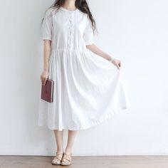 Summer white cotton dress, Maxi Dress-Simple Dress, Beach Dress-Linen Dress-Long Dress $58