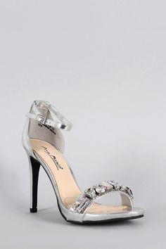 Anne Michelle Metallic Jeweled Open Toe Ankle Strap Stiletto Heel