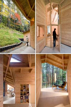 """Simply breathtaking… What a fine example of turning traditional techniques into modern architecture! The InBetween House works as a group of small mountain cabins situated between Japanese larch trees in a rocky region outside Tokyo. Yes… the word """"between"""" gains a special meaning in this particular context – From nature to the building, all is arranged to work in a very delicate and integrated way."""