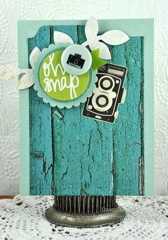 Just love Dawn's card-use of the woodgrain paper, the colors and antique camera!