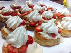 vol au vents with strawberries and cream