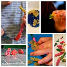 Dinosaur Craft: Pasta Necklace.  This was a huge hit my son made one for his teddy and his girl friend :)