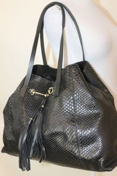 authentic GUCCI black python snakeskin tote Handbag horsebit detail #Gucci #TotesShoppers