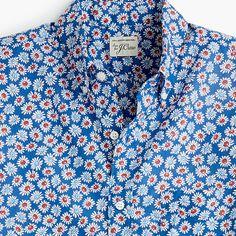 fd47a617 J.Crew - Short-sleeve stretch slub cotton shirt in daisy print Mens Suits