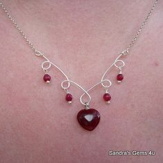 Ruby Heart Sterling Silver Necklace July birthday. A Handmade ...