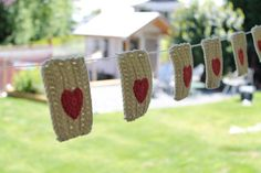 sweet heart crochet flag bunting by salvageeighteen on Etsy, $25.00