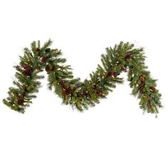 """9' x 14"""" Pre-lit Cibola Mix Berry Pine Artificial Christmas Garland - Warm Clear LED Lights"""