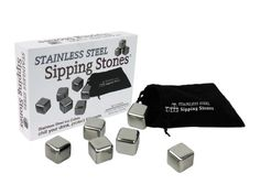 Stainless Steel Ice Cubes - Set Of 6 Stainless Steel Sipping Stones In Gift Box With Muslin Carrying Pouch And Tongs, 2015 Amazon Top Rated Bar Sets #Kitchen