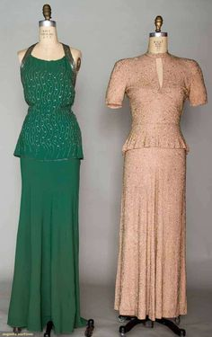 Augusta Auctions, November 2, 2011 NYC, Lot 337: Two Beaded Evening Gowns, 1930-1940s