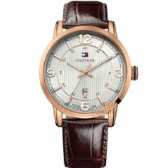 Tommy HILFIGER George Rose Gold Brown Leather Strap