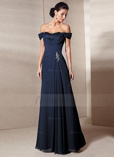 A-Line/Princess Off-the-Shoulder Floor-Length Chiffon Mother of the Bride Dress With Ruffle Beading (0085059868) - Vbridal