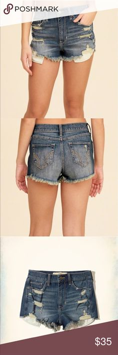 Hollister Vintage High Rise Jean Shorts SZ 1 NWOT Gillis tee High Waisted Distressed Jean Shorts. New. Never worn. Perfect condition. Last three pictures are actual shorts. Hollister Shorts Jean Shorts
