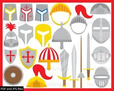 Knight Props - ClipArt PDF JPG Digital Graphic Design Commercial Use Prop Photo Booth Instant Download Clip Art medieval middle age 00174 Paper & Party Supplies Party Supplies Party Décor Party Hats & Crowns kid birthday party vector prop cartoon photo booth mask set instant download decoration printable illustration red medieval armor war helmet shield sword kingdom crusader hero knight warrior clipart hat pdf jpg commercial use prop print digital props pro Medieval Helmets, Medieval Armor, Crown For Kids, Medieval Party, Cartoon Photo, Photo Booth Props, Digital Stamps, Embroidery Files, Clip Art