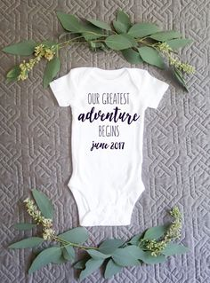 Greatest Adventure Pregnancy Announcement Baby Onesie Bodysuit by ebonandivory on Etsy