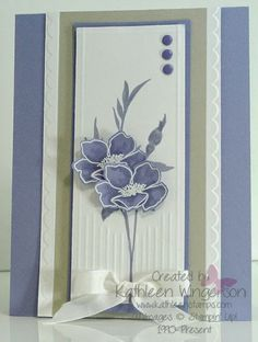 kathleenstamps.com -- Isn't this a pretty color combination? I used the Stampin' Up! Fabulous Florets stamp set. The colors are Wisteria Wonder and Sahara Sand.  Thanks for taking time to PIN my project!  More details can be found on my blog at: www.kathleenstamps.com