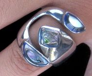 Pacific Blue - Abalone Shell adjustable Ring expert lapidary inlay work, set in fine pewter silver alloy.Feel the colour in your fingers, a piece of Mexico near your heart.