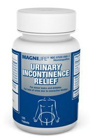 MagniLife Homeopathic Urinary Incontinence Relief for minor leaks and dribbles due to overactive bladder. 125 Tablets Per Bottle by MagniLife Homeopathic Urinary Incontinence Relief for minor leaks and dribbles due to overactive bladder.. $19.99. MagniLife Homeopathic Urinary Incontinence Relief Tablets  125 Tablets Per Bottle  Overactive bladder? Urinary Incontinence Relief Tablets help relieve the sudden urge to urinate, followed by the involuntary loss of uri...