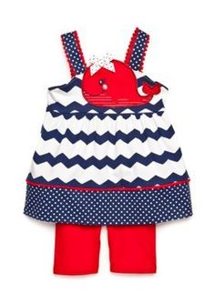Nannette  2-Piece Chevron Whale Tunic and Biker Shorts Set Toddler Gir