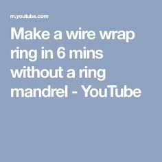 Learn how to make a wire wrap ring in 6 mins without a ring mandrel. Please visit the website below to get the materials that you need for making this beauti. Wire Tutorials, Wire Wrapped Rings, Ring Dish, Toe Rings, Wire Work, Wire Jewelry, Jewelery, Beautiful Rings, Wire Wrapping