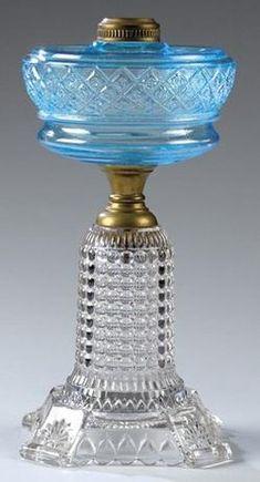 Oil Lamp; Pressed Glass, Adams & Co, Thousand Eye, Bi-Color, 12 inch.