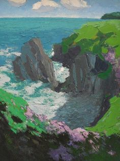 Thrift, Rocks and Sea Pembrokeshire by Gwilym Pritchard Cymru, Beautiful Paintings, Wales, Beast, Sky, Landscape, Gallery, British Artists, Thrift