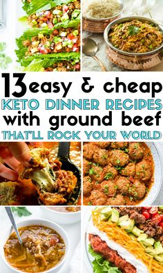 13 Keto Ground Beef Recipes That Are Easy To Make And Perfect For Weeknight Meals! Low carb soup, taco, salads, and casserole recipes. These keto ground beef recipe ideas are quick to make and cheap since ground beef is a cheap ingredient. Beef Recipe Low Carb, Ground Beef Keto Recipes, Healthy Ground Beef, Keto Crockpot Recipes, Beef Recipes For Dinner, Low Carb Recipes, Diet Recipes, Healthy Recipes, Cheap Recipes