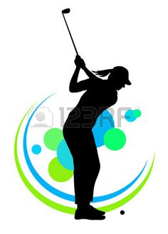 Illustration silhouette of a golf player Stock Vector