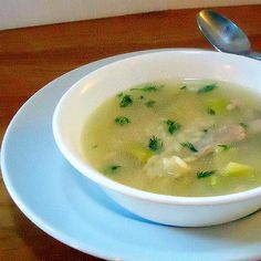 One Perfect Bite: Chicken Soup with Orzo, Lemon and Dill-used 1T lemon extract and dried dill. 2 leeks, 4 celery ribs, 4 chicken breasts (boiled with onion and garlic powders and poultry seasoning), 1/2 box orzo, salt liberally: served 6 adults plus a 9 mo old baby
