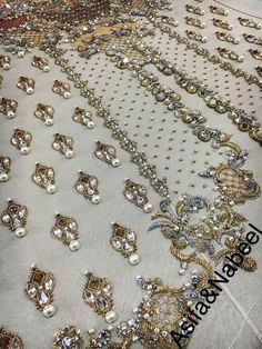 Designer Gold on Blue Embroidered Lace Bullion Embroidery, Zardosi Embroidery, Pearl Embroidery, Couture Embroidery, Embroidery Fashion, Hand Embroidery Designs, Embroidery Patterns, Tambour Beading, Gold Work