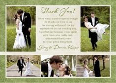 Photo Collage Green Wedding Thank You Card - Vintage