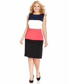 Anne Klein Plus Size Sleeveless Colorblock Sheath - Plus Size Dresses - Plus Sizes - Macy's