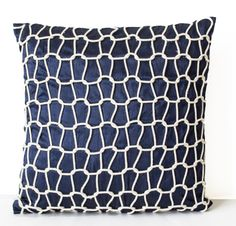 Navy Decorative Pillow Cover Blue Silk Pillow Cases by AmoreBeaute