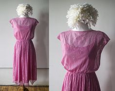 c2596a0e2391 Vintage 1970s Pink Lace Fit and Flare Dress by AveryVintageShop on Etsy  Pretty In Pink Dress