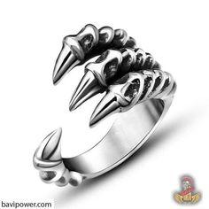 Men/'s Vintage Viking Warrior Ring Stainless Steel Dragon Claw Axe CZ Biker Ring