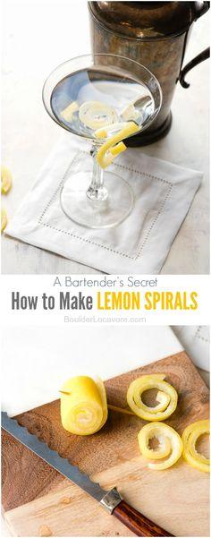 How to Make Lemon Spirals (drink or cocktail garnish) BoulderLocavore.com