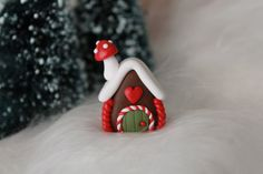 Miniature Gingerbread House - Polymer Clay Gingerbread - Christmas Decor - Miniature Garden - Fairy Garden USD) by GnomeWoods Polymer Clay Fairy, Polymer Clay Ornaments, Polymer Clay Projects, Polymer Clay Charms, Clay Crafts, Gingerbread Christmas Decor, Clay Christmas Decorations, Polymer Clay Christmas, Christmas Crafts