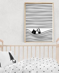 Nursery Wall Art, FRIENDS Illustration, Black and White Print, Stripes, Woodland Art, Kids Posters, Printable Kids Gift, Digital Download
