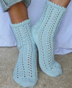 Knitted Rainy Day Socks pattern by Yuliya Sullivan Lace Patterns, Knitting Patterns Free, Free Knitting, Free Pattern, Stitch Patterns, Crochet Patterns, Knitted Slippers, Crochet Slippers, Knit Crochet