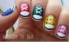 Nailed It NZ: Nail art for short nails - Chuck Taylors/shoe nails! Classy Nail Designs, New Nail Designs, Black Nail Designs, Converse Nails, Shoe Nails, Nail Art Diy, Diy Nails, Chuck Taylor Shoes, Short Nails Art