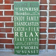 Custom Cottage Rules Sign