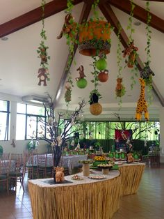 Decoracion de techo, fiesta infantil jungla