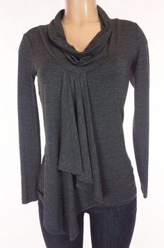 RONEN CHEN Top Size 0 USA S Small Black Gray Stripe Knit Swag Lagenlook #RonenChen #KnitTop #Casual
