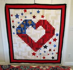 Quilt of Valor 3 | Flickr - Photo Sharing! sew, blue quilt, valor, satin, heart quilts, quilt idea, red white, patriotic quilts, patriot quilt